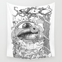 gore Wall Tapestries featuring Monster's Garden! by Davide Vitiello
