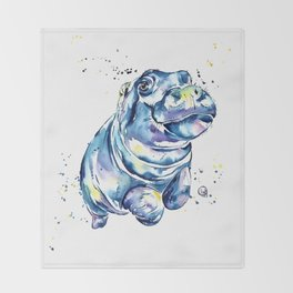 Hippo Colorful Watercolor Hippo Painting - Grace Throw Blanket