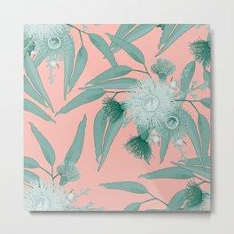 Eucalyptus Bloom - Mint and Peach  Metal Print