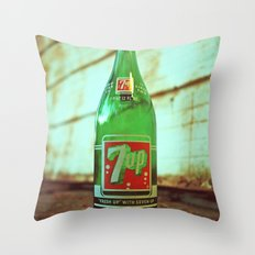 Nostalgic 7up bottle Throw Pillow