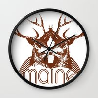 maine Wall Clocks featuring Backwoods Maine by One Giant Eye