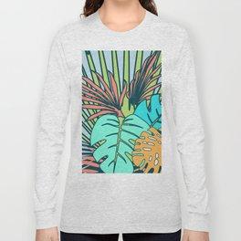 Tropical leaves blue Long Sleeve T-shirt