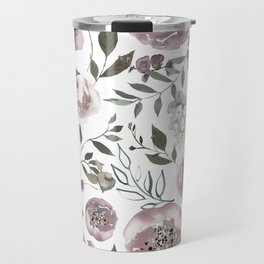 dusty rose floral watercolor Travel Mug