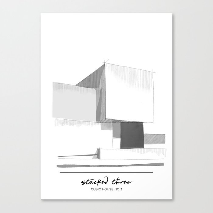 Cubic House No 3 Minimalist Architecture Canvas Print By