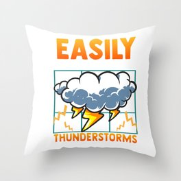 Easily Distracted By Thunderstorms Storm Chaser Throw Pillow