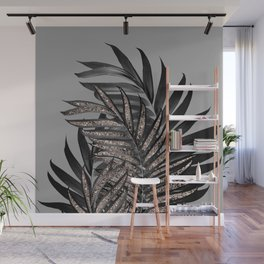 Gray Black Palm Leaves with Rose Gold Glitter #1 #tropical #decor #art #society6 Wall Mural