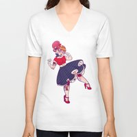 rockabilly V-neck T-shirts featuring Rockabilly Futakuchi Peggy by Gunkiss
