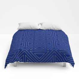 Angled Blue & Gold Comforters