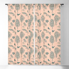 A Girl Reading in the Garden (Blush and Teal) Blackout Curtain