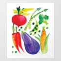 Veg Out - Vegetable, Veggies, Watercolor, Food, Beet, Carrot, Pea by patricehorvath
