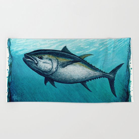 Bluefin Tuna ~ Watercolor Beach Towel