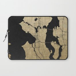 Seattle Black and Gold Street Map Laptop Sleeve