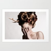 antler Art Prints featuring ANTLER by MCGRORY