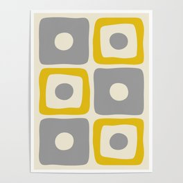 Mid Century Modern Square Dot Pattern 592 Yellow and Gray Poster