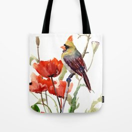 Cardinal Bird And Poppy Flowers Tote Bag