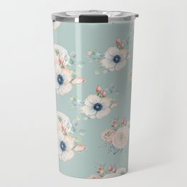 Dog Rose Pattern Mint Travel Mug
