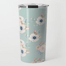 Dog Rose Pattern Mint Travel Mug