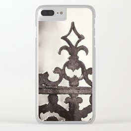 Gate Architecture Photography, Sepia Architectural Gates, Neutral Wrought Iron Clear iPhone Case