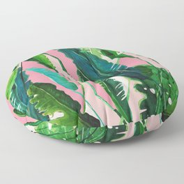 ?Green Nature on Pink Floor Pillow