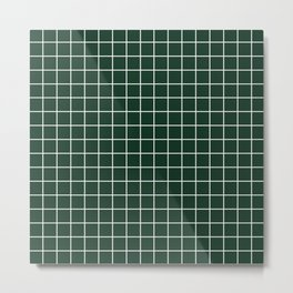 Phthalo green - green color - White Lines Grid Pattern Metal Print