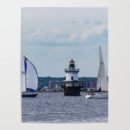 Sailing By the Lighthouse Poster