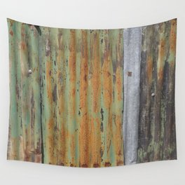 corrugated rusty metal fence paint texture Wall Tapestry