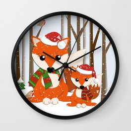 Cute Foxes with Santa hats in a snowy winter world Wall Clock
