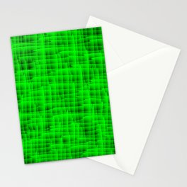 Square intersections green lines on a dark tree. Stationery Cards