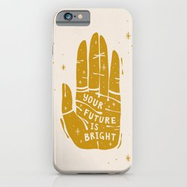 Your Future is Bright Hand Drawn Palmistry Illustration  |  Yellow on Ivory | Alex Gold Studios iPhone Case