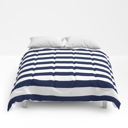 Nautical Navy Blue and White Stripes Comforters