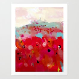 red poppies field abstract Art Print