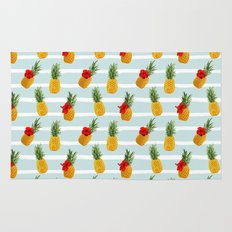 Hawaiian Summer Pineapple Seamless Pattern Rug