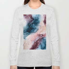 Pastel Plum, Deep Blue, Blush and Gold Abstract Painting Long Sleeve T-shirt