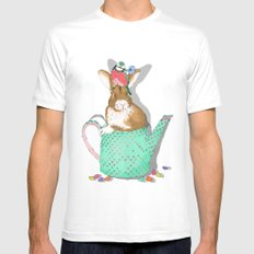 bunny in the teapot MEDIUM White Mens Fitted Tee