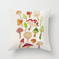 mushrooms Throw Pillows featuring Mushrooms by Cat Coquillette