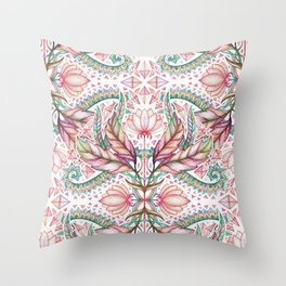 Lily, Leaf & Triangle Pattern – multi-color version Throw Pillow