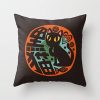 black cat Throw Pillows featuring Black Cat by BATKEI