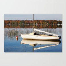 Sailboat on Quiet Lake in Autumn Canvas Print