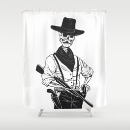 Sheriff with mustache and rifle Shower Curtain
