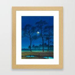 Vintage Japanese Woodblock Print Three Tall Trees At Night Forest Field Landscape Framed Art Print