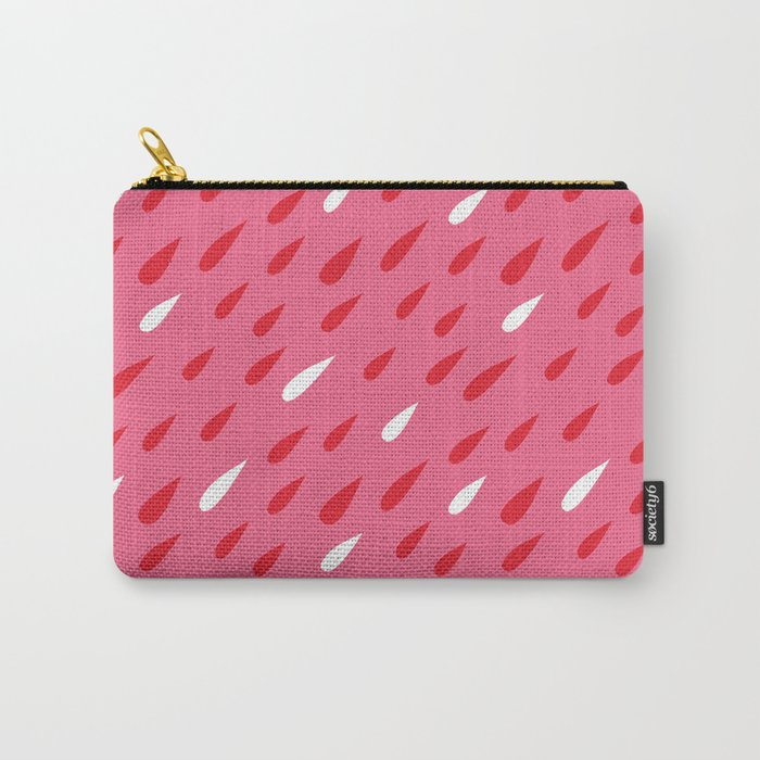 Red + Pink Droplets Carry-All Pouch