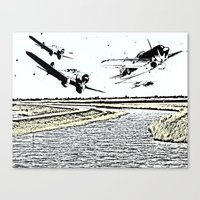 airplanes Canvas Prints featuring Airplanes over the water by Michael Mann