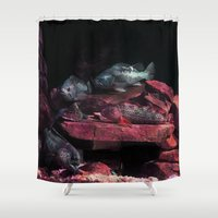 barbie Shower Curtains featuring Fish on the Barbie by Distortion Art