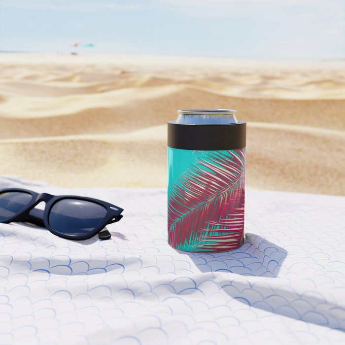 Neon Palm Can Cooler