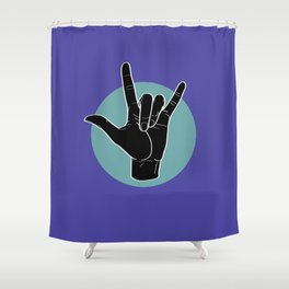 ILY - I Love You - Sign Language - Black on Green Blue 02 Shower Curtain