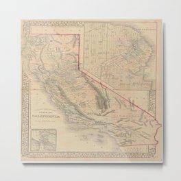 Vintage Map Of California Metal Print