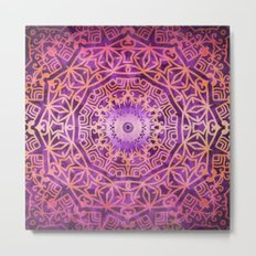 Mandala Pink Night Metal Print