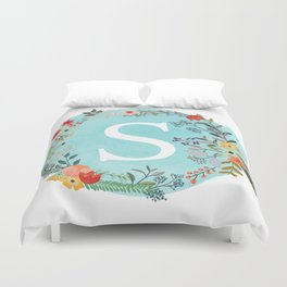 Personalized Monogram Initial Letter S Blue Watercolor Flower Wreath Artwork Duvet Cover