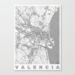 Valencia Map Line Canvas Print