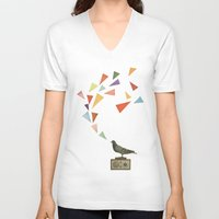 pigeon V-neck T-shirts featuring Pigeon Radio by Cassia Beck